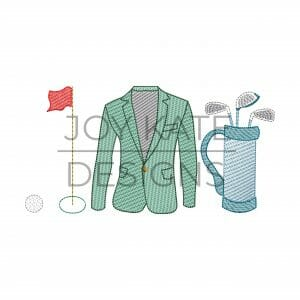 Golf light fill sketch embroidery design features a golf ball, hole, green jacket, and golf clubs