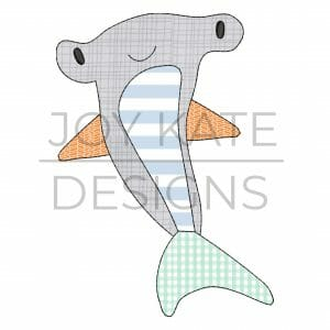 Hammerhead shark applique design for machine embroidery