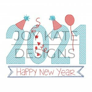 2021 New Year Sketch Embroidery Design