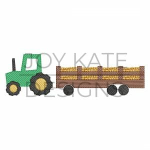 Hay ride tractor design for machine embroidery