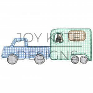 Truck pulling horse trailer applique design