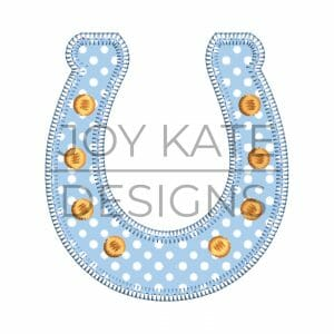 Blanket stitch horseshoe applique design for machine embroidery