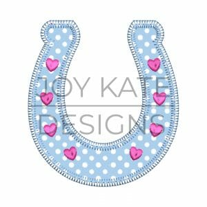 Blanket stitch horseshoe with hearts applique design for machine embroidery