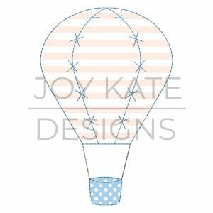 Hot air balloon vintage applique design for machine embroidery