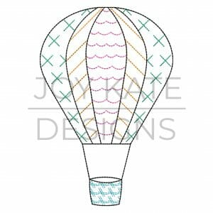 Hot air balloon bean stitch embroidery design