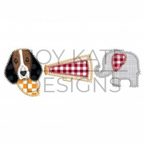 House divided cheerleader trio with elephant and hound dog zigzag applique design