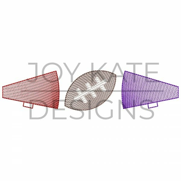 Sketch Three in a Row House Divided Cheerleader Embroidery Design