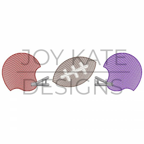 Sketch Three in a Row House Divided Football Embroidery Design