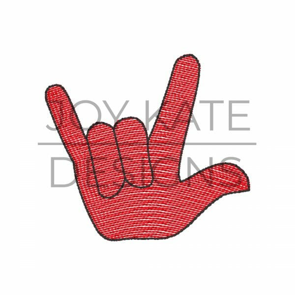 Cajun Football Hand Sign Light Fill Stitch Embroidery Design