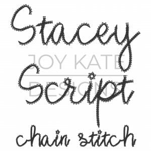 Stacey Script Textured Font for Machine Embroidery