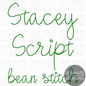 Stacey Script Vintage Bean Stitch Font for Machine Embroidery
