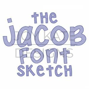 Jacob Font sketch fill letter set for machine embroidery