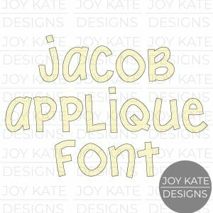 Jacob Font applique letter set for machine embroidery