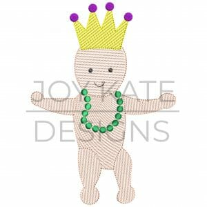 Mardi Gras King Cake Baby Wearing Beads and Crown Sketch Design for Machine Embroidery