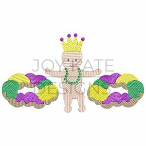 Mardi Gras King Cakes and Baby Wearing Beads and Crown Sketch Design for Machine Embroidery