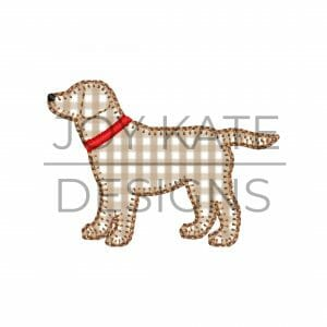 Blanket Stitch Dog Mini Applique Design for Machine Embroidery