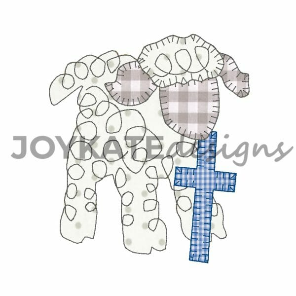 Easter Lamb Bean Stitch and Hand Scribble Swirl Applique for Machine Embroidery