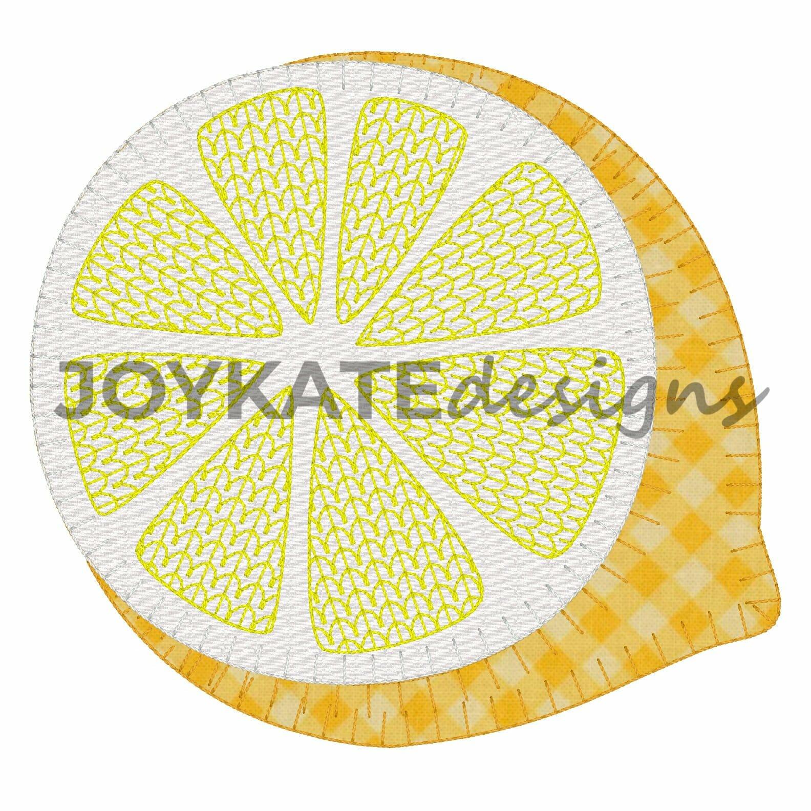 Blanket Stitch Lemon Applique Embroidery Design Joy Kate Designs