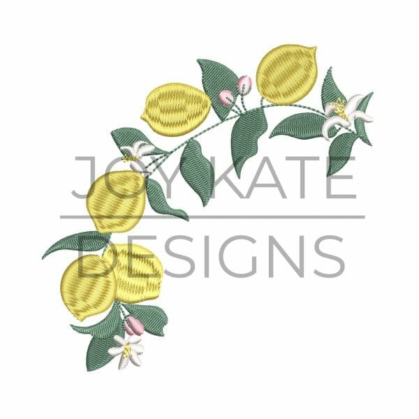 Lemon tree branch with buds and flowers embroidery design