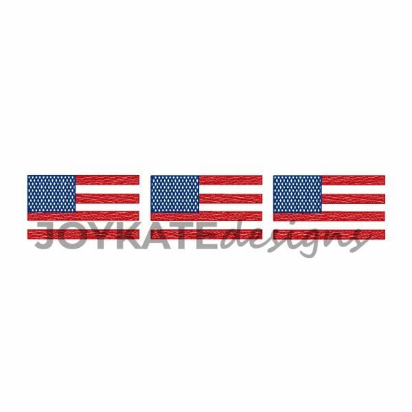 Three in a Row American Flag Vintage Bean Stitch and Light Fill Design for Machine Embroidery