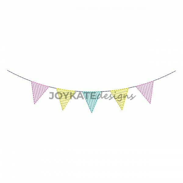 Vintage Sketch Fill Triangle Banner Embroidery Design