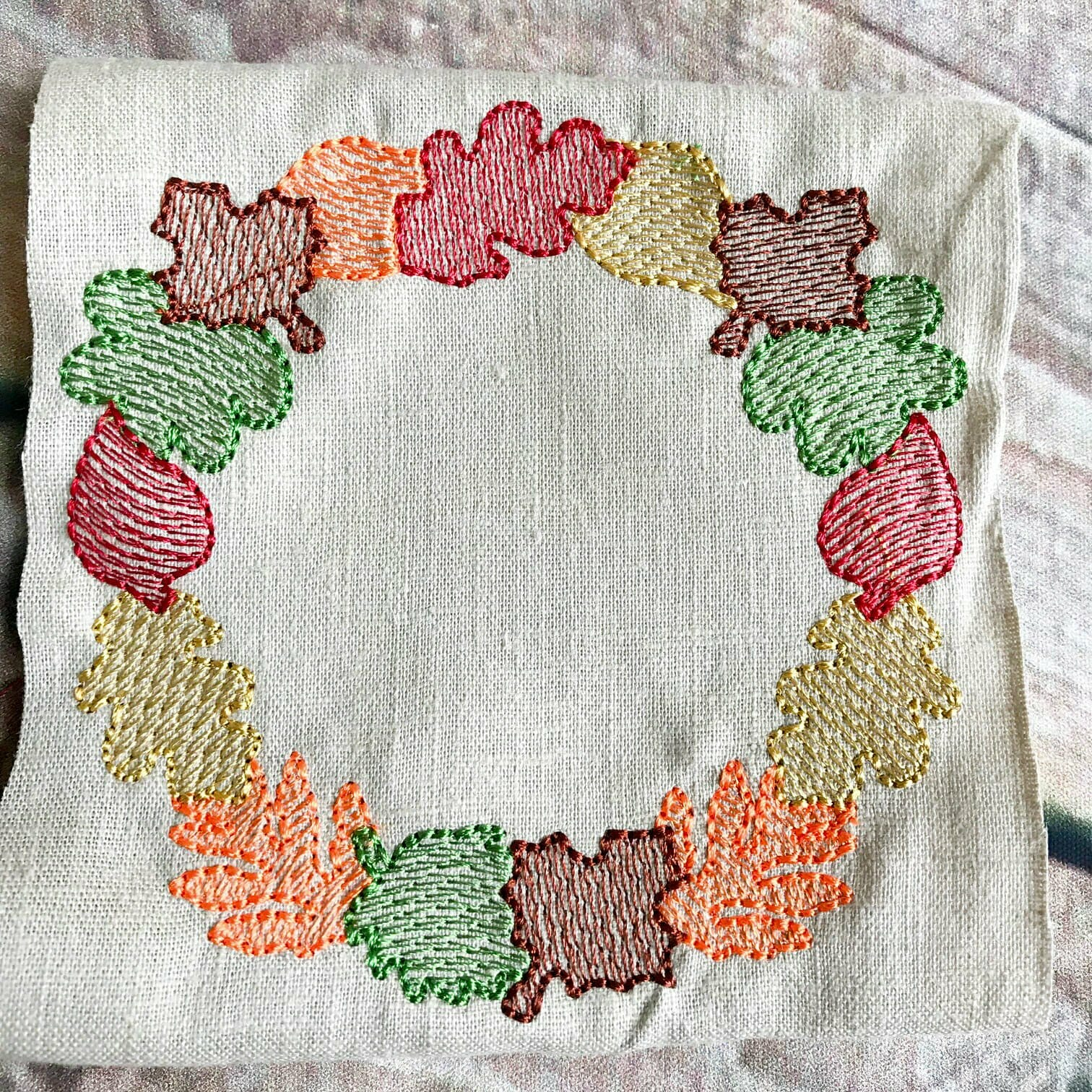 Light Fill Fall Leaf Frame Embroidery Design | Joy Kate Designs