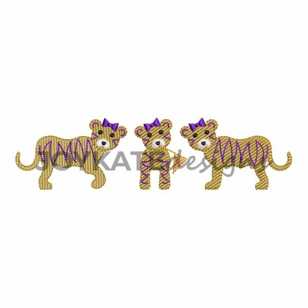 Three in a Row Sketch Fill Tiger Design for Machine Embroidery