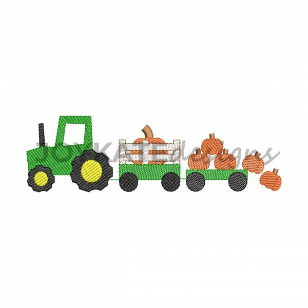 Light Fill Tractor with Pumpkins Design for Machine Embroidery
