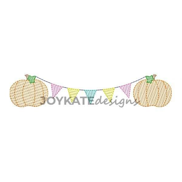 Sketch Fill Pumpkins with Triangle Pennant Banner Machine Embroidery Design