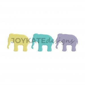 Light Fill Stitch Three in a Row Elephant Design for Machine Embroidery