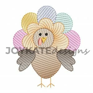 Thanksgiving Vintage Sketch Stitch Turkey Design for Machine Embroidery