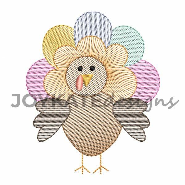 Thanksgiving Vintage Sketch Stitch Turkey Design for Machine Embroidery