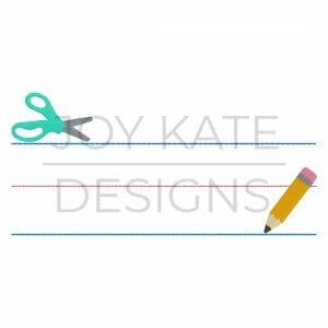 Back to school Kindergarten/Preschool handwriting paper machine embroidery design