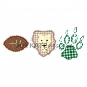 Three in a Row Lion Football Design for Machine Embroidery. Zigzag and bean stitch applique design.