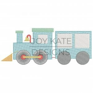 Sweet Vintage Train Sketch Design for Machine Embroidery