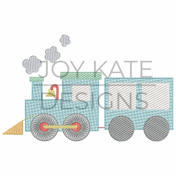 Sweet Vintage Train with Steam Clouds Sketch Design for Machine Embroidery