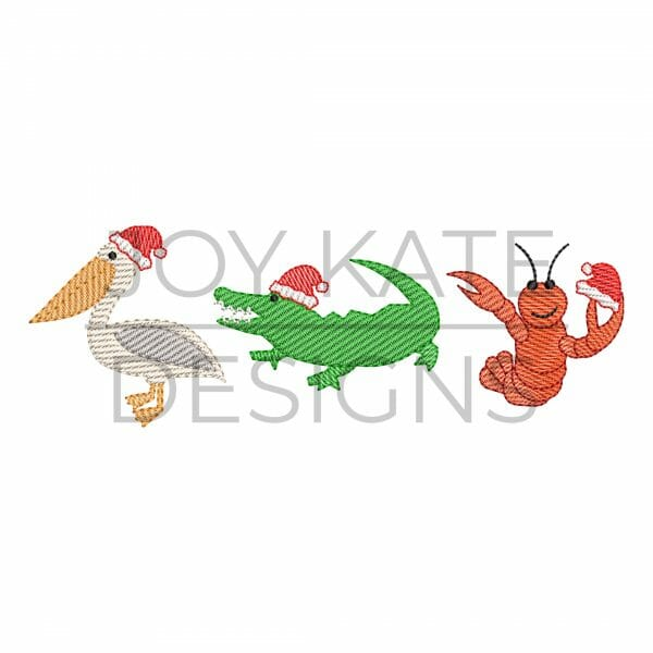 Louisiana Christmas animals light sketch fill machine embroidery design. Row of three includes pelican, alligator, and crawfish with Santa hats