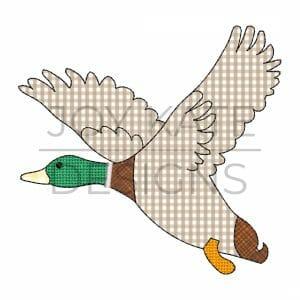 Flying duck bean stitch applique machine embroidery design