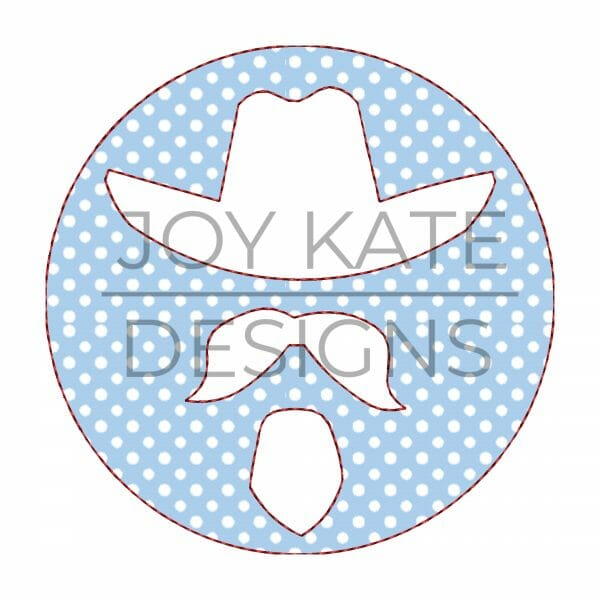 Southern man with hat circle applique design for machine embroidery