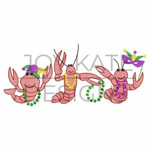 Row of three light sketch fill Mardi Gras crawfish embroidery design