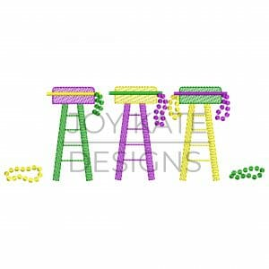 Three in a Row Mardi Gras Ladder Chairs with Beads Sketch Design for Machine Embroidery