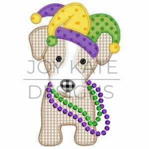 Blanket Stitch Mardi Gras Dog Applique Design for Machine Embroidery
