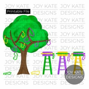 Mardi Gras Tree with Beads and Ladder Chairs watercolor PNG clipart image