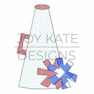 Cheerleader megaphone and pom poms quick stitch applique design for machine embroidery