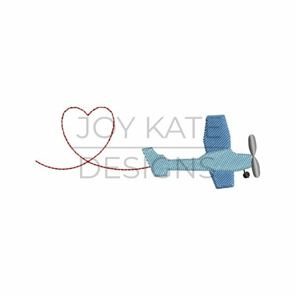 Propeller Airplane with Valentine's Day Heart Mini Design for Machine Embroidery