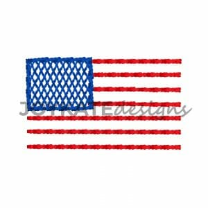 1 inch Vintage Bean Stitch American Flag Design for Machine Embroidery