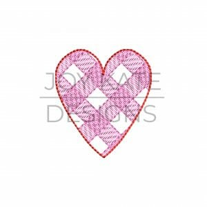 Mini Sketch Gingham Heart Embroidery Design