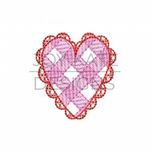Mini Sketch Gingham Lace Heart Embroidery Design