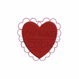 Heart with lace mini machine embroidery design