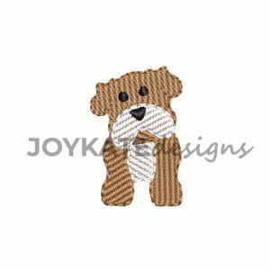 Mini Light Fill Single Bulldog Design for Machine Embroidery
